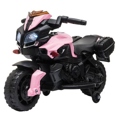 LEADZM 6V Electric Ride on Motorcycle with 2 Training Wheels