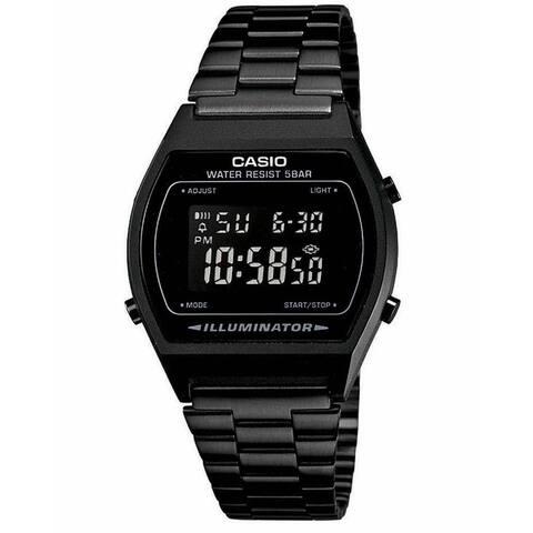 Casio Men's B640WB-1BEF 'Retro Digital Illuminator' Black Stainless Steel Watch