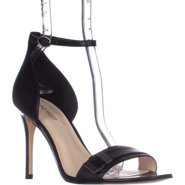 Nine West Matteo Ankle Strap Dress Sandals, Black Leather