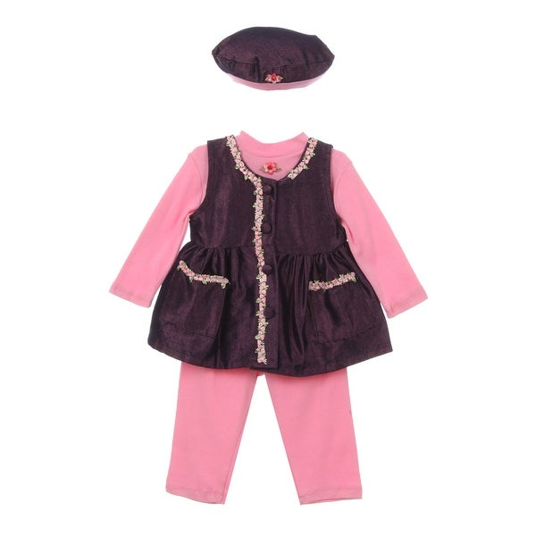 Baby Girl Pink Dark Blue Bonnet Flower Pocket Long Sleeve Pants Outfit 9M