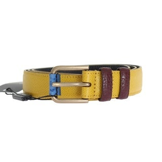 Dolce & Gabbana Dolce & Gabbana Yellow Leather Gold Buckle Belt - 95-cm-38-inches