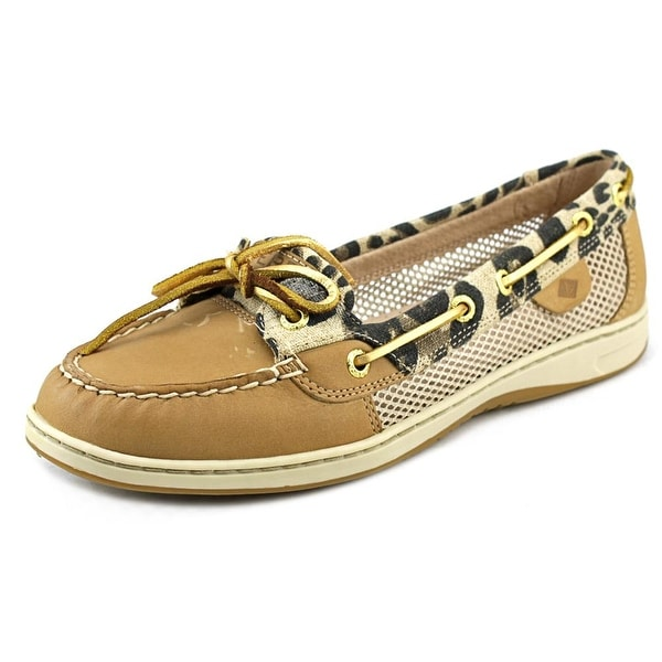 Sperry Top Sider Angelfish Leopard Linen Women Round Toe Canvas Loafer