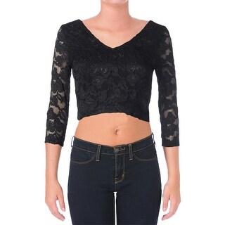 Aqua Womens Crop Top Metallic Lace