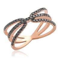 Fabulous 0.52 Carat Round Brilliant Cut Black Diamond Designer Ring