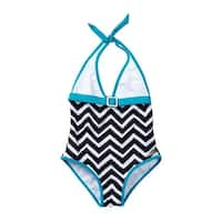 Azul Little Girls Blue White Jagged Edge Triangle One Piece Swimsuit