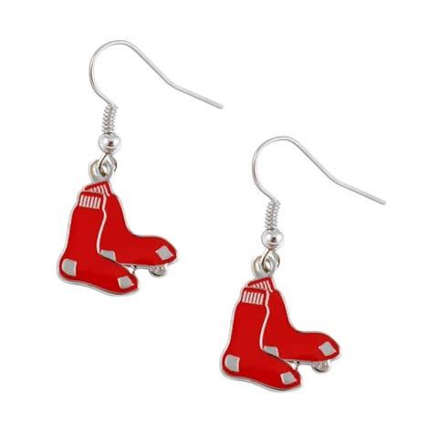 "MLB Boston Red Sox Logo Dangle Earring Set Charm Gift Red - 5/8 to 3/4"""