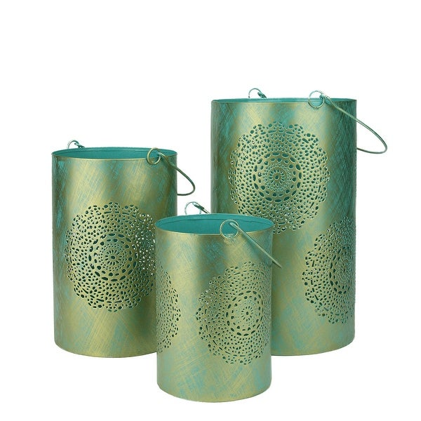 Set of 3 Turquoise Blue and Gold Decorative Floral Cut-Out Pillar Candle Lanterns 10""