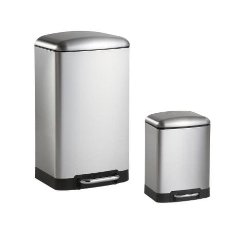 happimess Ashley Rectangular 8-Gallon Trash Can with Soft-Close Lid with FREE Mini Trash Can, Stainless Steel