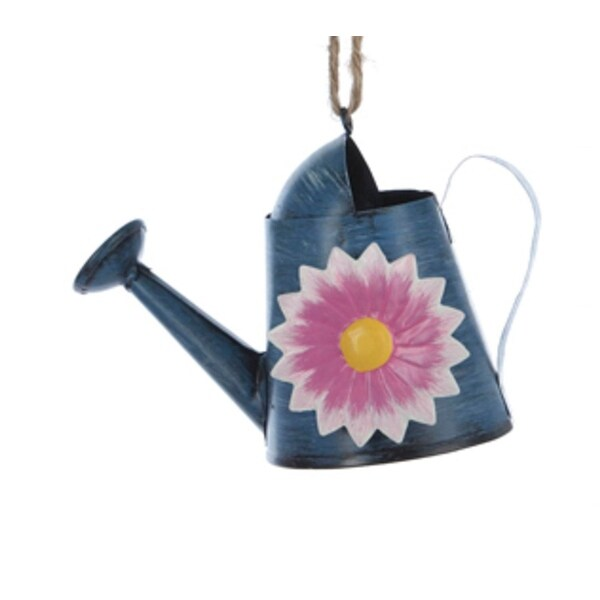 "4"" Blue Garden Watering Can with Flower Christmas Ornament"