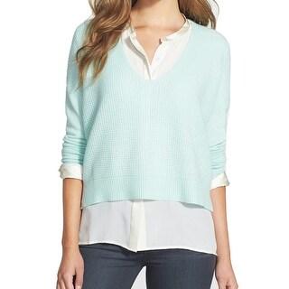 Halogen NEW Blue Women's Size Medium M V-Neck Cashmere Solid Sweater
