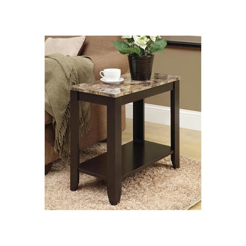 """Offex Espresso / Marble Top Accent Side Table with Solid Wood Finish - 23.75""""L x 12""""W x 21.5""""H"""