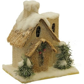 """9.25"""" Snow Covered Church with Shrubs Christmas Tabletop Decoration"""