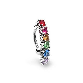 Bling Jewelry Gay Pride Rainbow CZ Top Drop Belly Button Ring 316L Steel