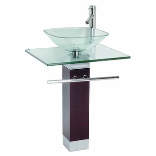 Tempered Glass Pedestal Sink Chrome Faucet Towel Bar And Drain Combo