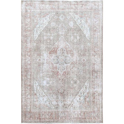 """Pure Wool Gray Persian Tabriz With Medallion Design Old Sheared Low Shabby Chic Clean Hand Knotted Oriental Rug (6'4"""" x 9'6"""")"""