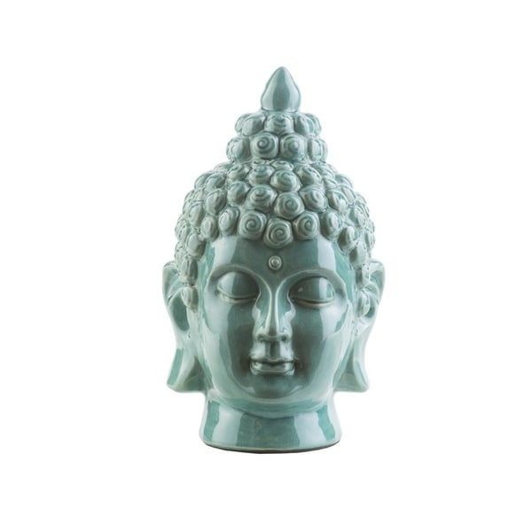 "7.5"" Buddha Head Wasabi Green Glossy Decorative Table Top Statue - N/A"