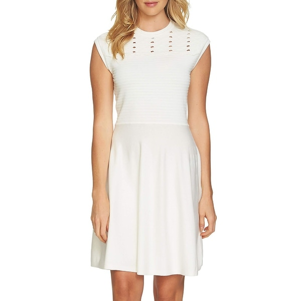 1dbd6562ec5 Shop CeCe White Womens Size XL Textured Eyelet Fit   Flare Sweater Dress -  On Sale - Free Shipping On Orders Over  45 - Overstock - 27024289