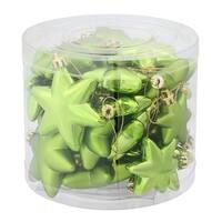 "36ct Matte & Shiny Kiwi Green Star Shatterproof Christmas Ornaments 1.5""-2"""