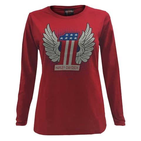 Harley-Davidson Women's #1 Winged Patriot Long Sleeve Shirt - Cardinal Red