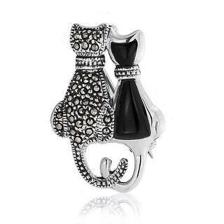 Bling Jewelry Imitation Onyx Resin Marcasite Cats Silver Pendant Brooch