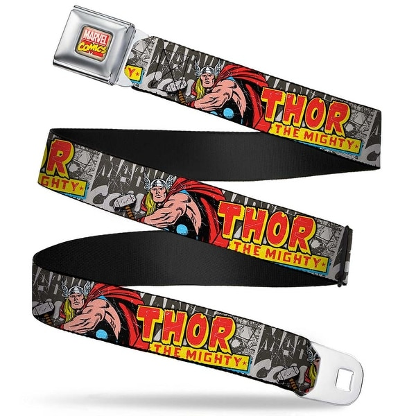 Marvel Comics Marvel Comics Logo Full Color Thor The Mighty Action Pose Seatbelt Belt