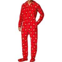 Family PJs Mens Reindeer Footed Pajamas Christmas Holiday
