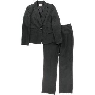 Le Suit Womens Pinstripe Peak Lapel Pant Suit