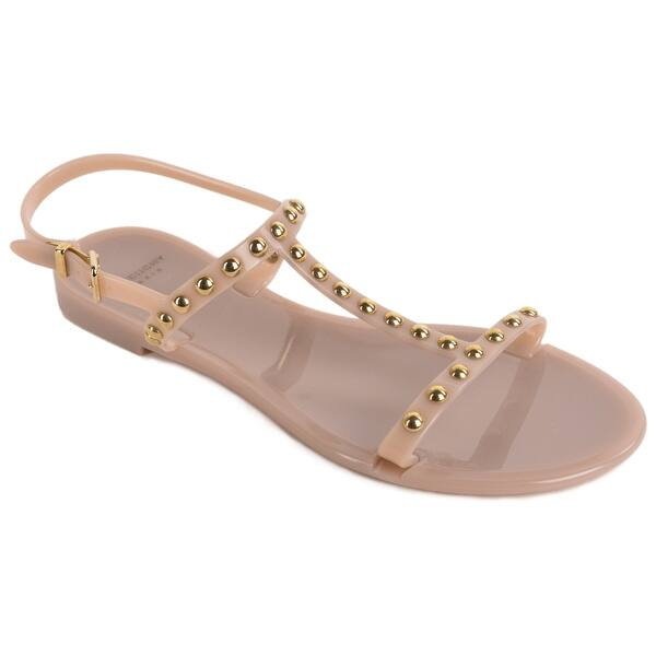 3e13c2bfbcb35 Shop Givenchy Womens Nude Studded T Strap Jelly Sandals - Free ...