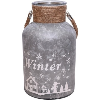 """12"""" Silver White Iced Winter Scene Decorative Christmas Pillar Candle Holder Lantern with Handle"""