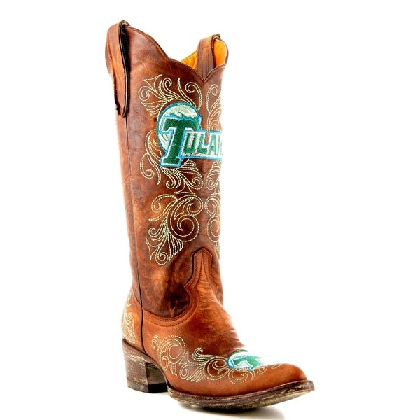 Gameday Boots Womens College Team Tulane Green Wave Brass
