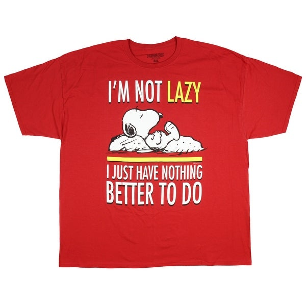 c265887bf Shop Peanuts Snoopy I'm Not Lazy I Just Have Nothing Better To Do Men's T- Shirt - Free Shipping On Orders Over $45 - Overstock - 25643274
