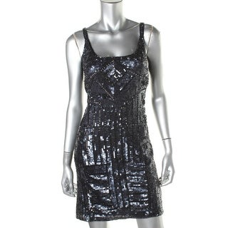 Adrianna Papell Womens Petites Embellished Sleeveless Cocktail Dress - 10P