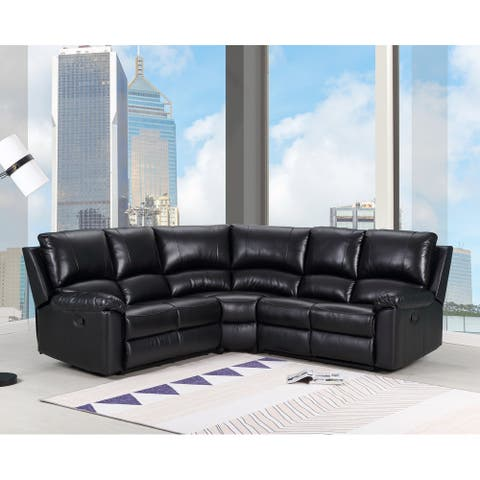 Contemporary Black Faux Leather Upholstered Power Recline Sectional