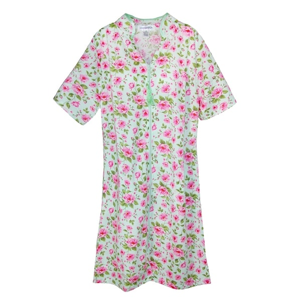 Sag Harbor Women's Short Sleeve Floral Zip Front Duster