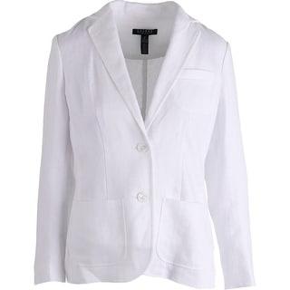 Lauren Ralph Lauren Womens Linen Textured Two-Button Blazer