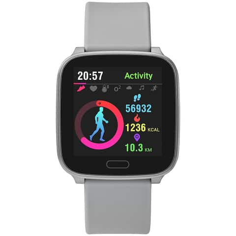 iConnect by Timex Active Smartwatch with Heart Rate, Notifications & Activity Tracking 37mm - Silver-Tone with Gray Resin Strap