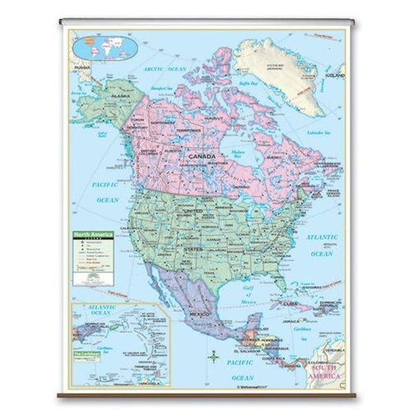 Universal Map 26087 North America Primary Wall Map - Backboard on kindergarten map of africa, kindergarten map of ireland, kindergarten map of the world, kindergarten map of asia, kindergarten map of mexico,