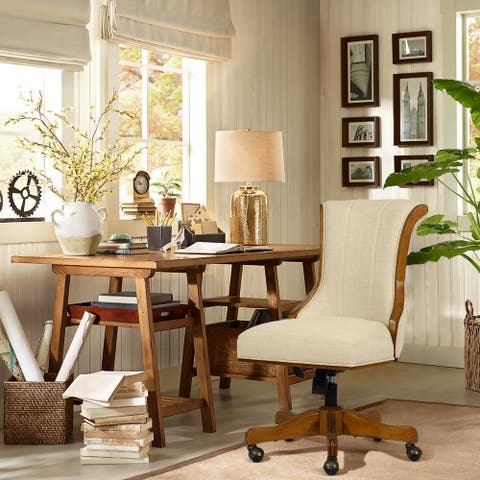 Furniture R Traditional Solid Wood Fabric Upholstered Office Chair