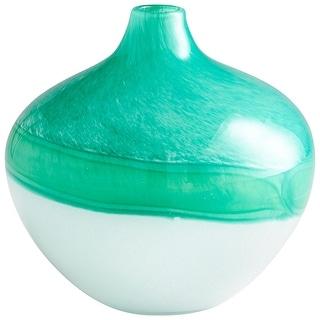 "Cyan Design 09520  Iced 8-1/2"" Diameter Glass Vase - Turquoise / White"