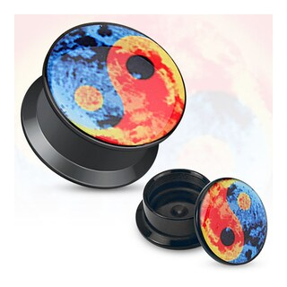 Colorful Yin Yang Print Black Acrylic Flat Screw Fit Plug (Sold Individually) (2 options available)