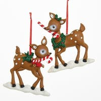Club Pack of 12 Brown and White Christmas Inspired Reindeer Ornaments 5""
