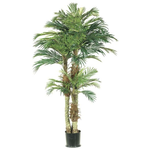 Set of 2 Potted Artificial Silk Phoenix Palm Trees 6'