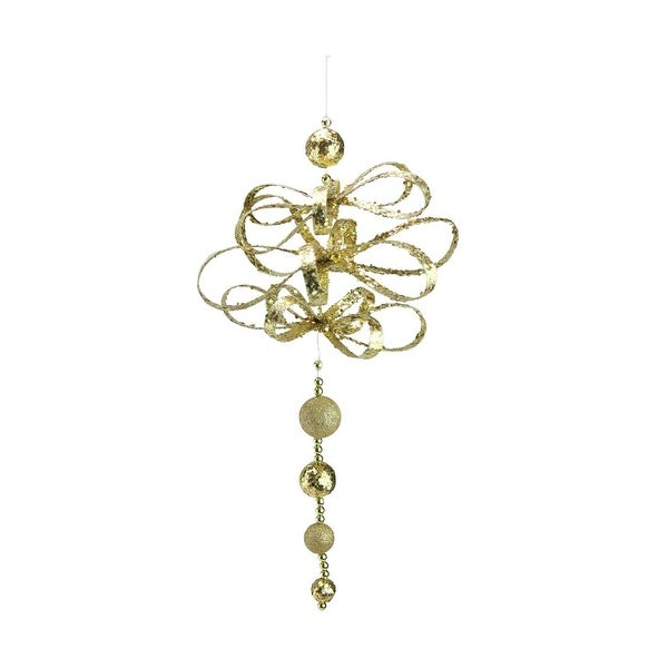 "18.5"" Unique and Whimsical Gold Two Finish Glittered Loop Ornament"