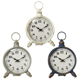 Set of 3 B/O Decorative Round Antique Metal Desktop Clocks 8.75