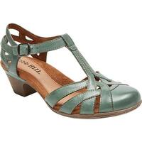 Rockport Women's Cobb Hill Aubrey T Strap Sandal Teal Full Grain Burnished Leather