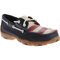 Twisted X Boots Children's YDM0014 Driving Moc Deck Shoe Blue/Red/White/Blue Leather