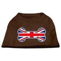Bone Shaped United Kingdom (Union Jack) Flag Screen Print Shirts Brown Lg (14)