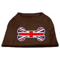 Bone Shaped United Kingdom (Union Jack) Flag Screen Print Shirts Brown Med (12)