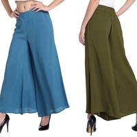 Women Fashion Wide Leg Trousers Casual Elastic Waist Solid Color Loose Pants