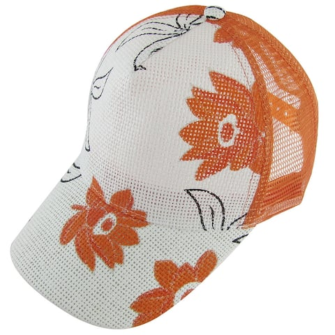 Unique Bargains Lady Adjustable Orange Flowers Prints Mesh Nylon Slouch Cap - Medium Orange
